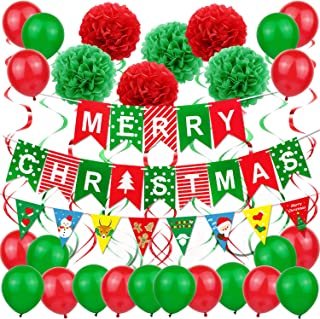 """Merry Christmas Decoration Supplies - """"Merry Christmas"""" Banner Paper Flowers Pom Poms Balls Hanging Tassel balloons. For Xmas Holiday Party Decor Supplies Christmas Home Decoration."""
