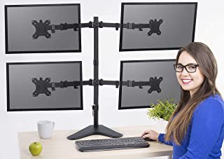 Stand Steady Freestanding 4 Monitor Desk Mount Stand | Height Adjustable Quad Monitor Stand with Full Articulation | VESA Mount Fits Most LCD/LED Monitors 13-32 Inches (4 Arm Free Standing)