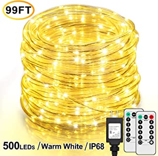 99Ft LED Rope Lights Outdoor, 500 LEDs Fairy String Lights Plug in 8 Modes, Dimmable, Super Durable, Waterproof String Lights Outdoor Indoor for Patio Wedding Christmas, 2 Remote Control (Warm White)
