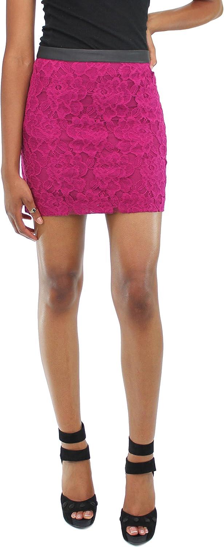 kensie Size 4 Zipper Back Leather Trim Floral Lace Mini Skirt Magenta