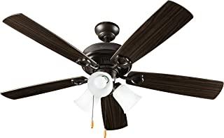 Hyperikon 42 Inch Ceiling Fan, with Pull Chain, Classical Style, Brown, 5 Reversable Blades, Bulbs Not Included