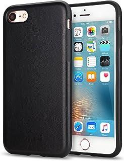 TENDLIN iPhone SE ケース [第2世代] / iPhone8 ケース / iPhone7 ケース レザーとTPUソフトケース 薄型 軽量 ワイヤレス充電 アイフォンSE (2020年モデル) アイフォン8 アイフォン7 カバー (ブラック)