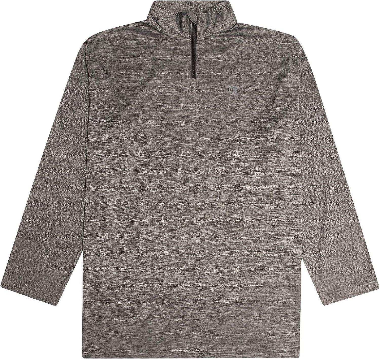 Champion Mens Big and Tall Quarter Zip Pullover Men Long Sleeve Shirt Sweater