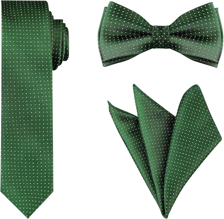 Allegra K 50s Men's Polka Dots Tie Set Necktie Bowtie Pocket Square for Wedding Formal Occasion
