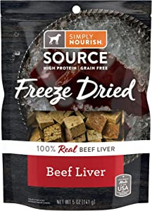 Simply Nourish Freeze Dried Beef Liver Dog Treats 5 Ounces (Pack of 2)