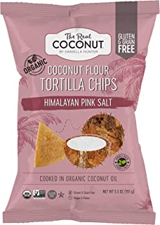 The Real Coconut, Chips Tortilla Coconut Flour Himalayan Pink Salt, 5.5 Ounce
