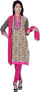 Rama Women's Cotton Embroidered Beige and Black Kurta and Legging & Dupatta Set