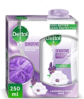 Dettol Sensitive Anti-Bacterial Body Wash With Puff 250ml - Lavender & White Musk