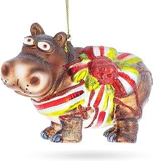 BestPysanky Hippo Gift Glass Christmas Ornament