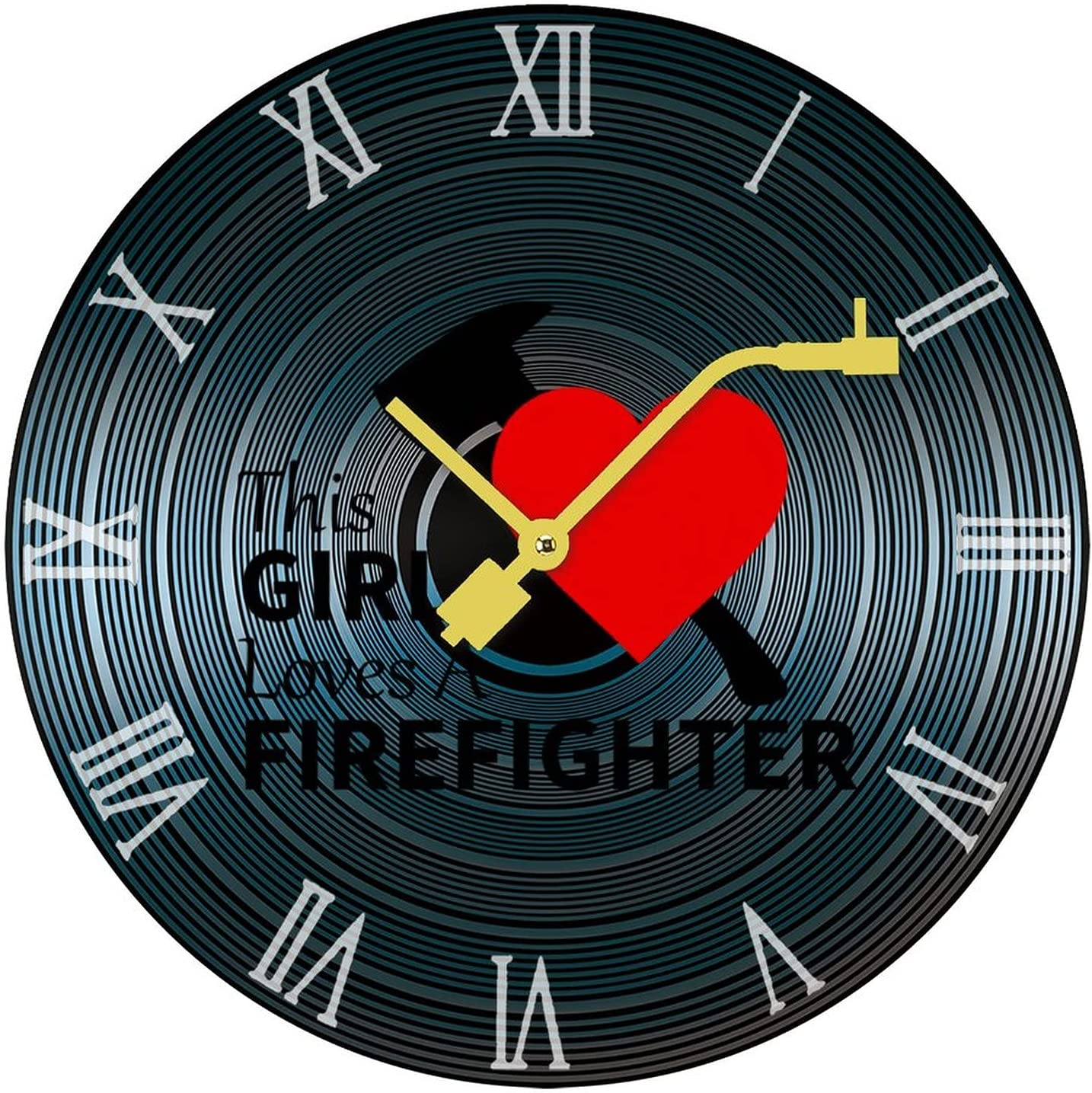 New Free Shipping This Girl Loves Fashion A Firefighter Clock Record Frameless Stylis Wall