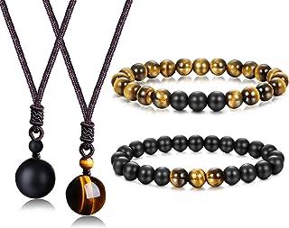 Jstyle 8mm Tiger Eye Beads Distance Friendship Bracelet for Women Men Natural Onyx Stone Beads Pendant Adjustable Healing ...