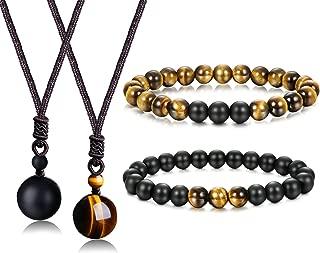 8mm Tiger Eye Beads Distance Friendship Bracelet for Women Men Natural Onyx Stone Beads Pendant Adjustable Healing Necklaces