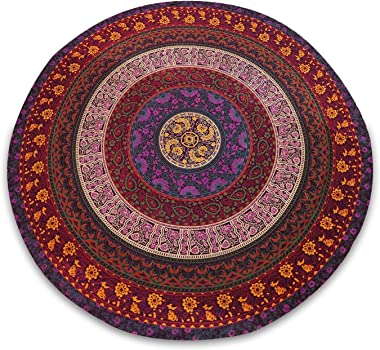 Fashion Hub 100% Cotton Mandala Dining Table Cover- Round Tablecloth (Multicolor-, 72Inch)