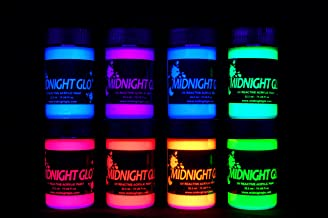 Midnight Glo UV Paint Acrylic Black Light Reactive Bright Neon Colors Set of 8 Bottles Great for Crafts, Art & DIY Project...