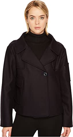 Jil Sander Navy - Felted Wool V-Neck Coat