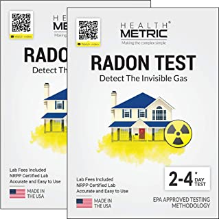 Radon Test Kit for Home - Easy to Use Charcoal Radon Gas Detector for Peace of Mind | 48-96h Short Term EPA Approved Radon Tester | Includes Lab Fees | Protect Yourself and Your Family | 2-Pack