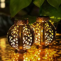 2-Pack CGVOVOT Outdoor Waterproof Decorative Solar Powered Lanterns (Bronze)