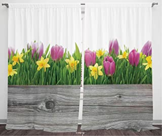 №36565 Blackout Curtains For Bedroom, Thermal Insulated Energy Saving Blackout Curtains / Daffodil Decor,Spring Tulips And Daffodils Flowers Blossoms In Colors With Wood Plank,Purple Yellow Green / 84