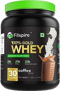 Fitspire Whey Gold standard 100% Whey Protein Isolate | No Added Sugar | Zero Cholesterol & Gluten Free | Powder Supplemen...