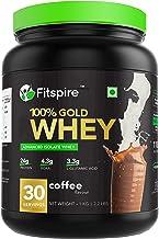 Fitspire 100% Whey Protein Gold | No Added Sugar, Low Carbs, Zero Cholesterol & Gluten Free | Coffee | 1Kg