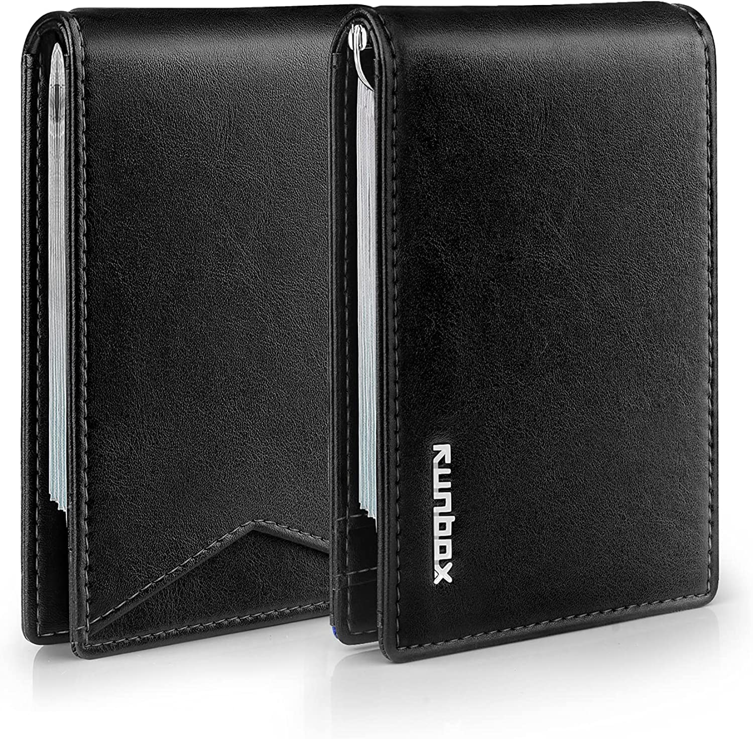 RUNBOX Slim Wallets for Men RFID BLOCKING Leather Stylish Bifold Mens Minimalist Wallet with Clip