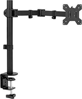 """VIVO Full Motion Single VESA Monitor Desk Mount Stand with Double Center Arm Joint   for 13"""" to 32"""" Screen (STAND-V101D)"""