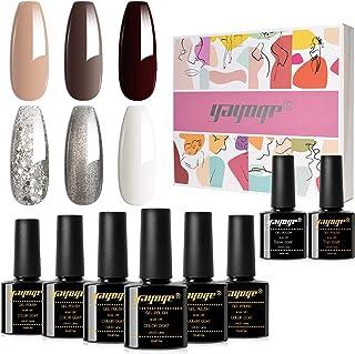 Yayoge Gel Nail Polish Kit 10ml 6 Colors Soak Off gel base and top coat for DIY Nail Art Salon and at Home
