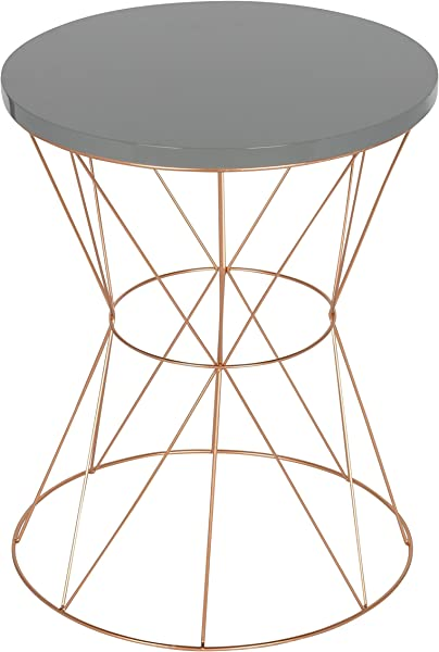 Kate And Laurel Mendel Round Metal End Table Gray Top With Rose Gold Base