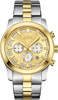 "JBW Men's JB-6218-E""Delano"" Gold-Tone and Stainless Steel Chronograph Diamond Watch with Sub-Dials"