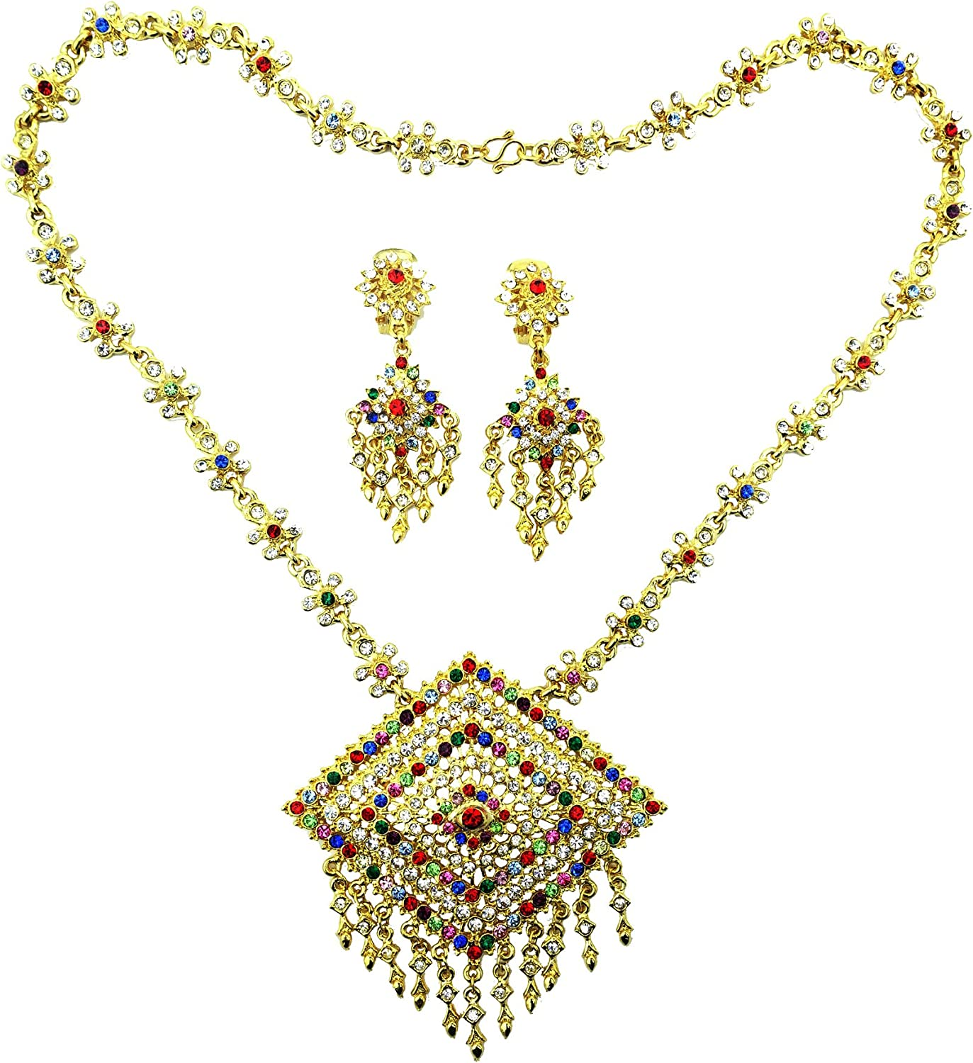 Siwalai Thai Traditional Gold Plated Multicolor Crystals Necklace Earrings Jewelry Set 22 Inches