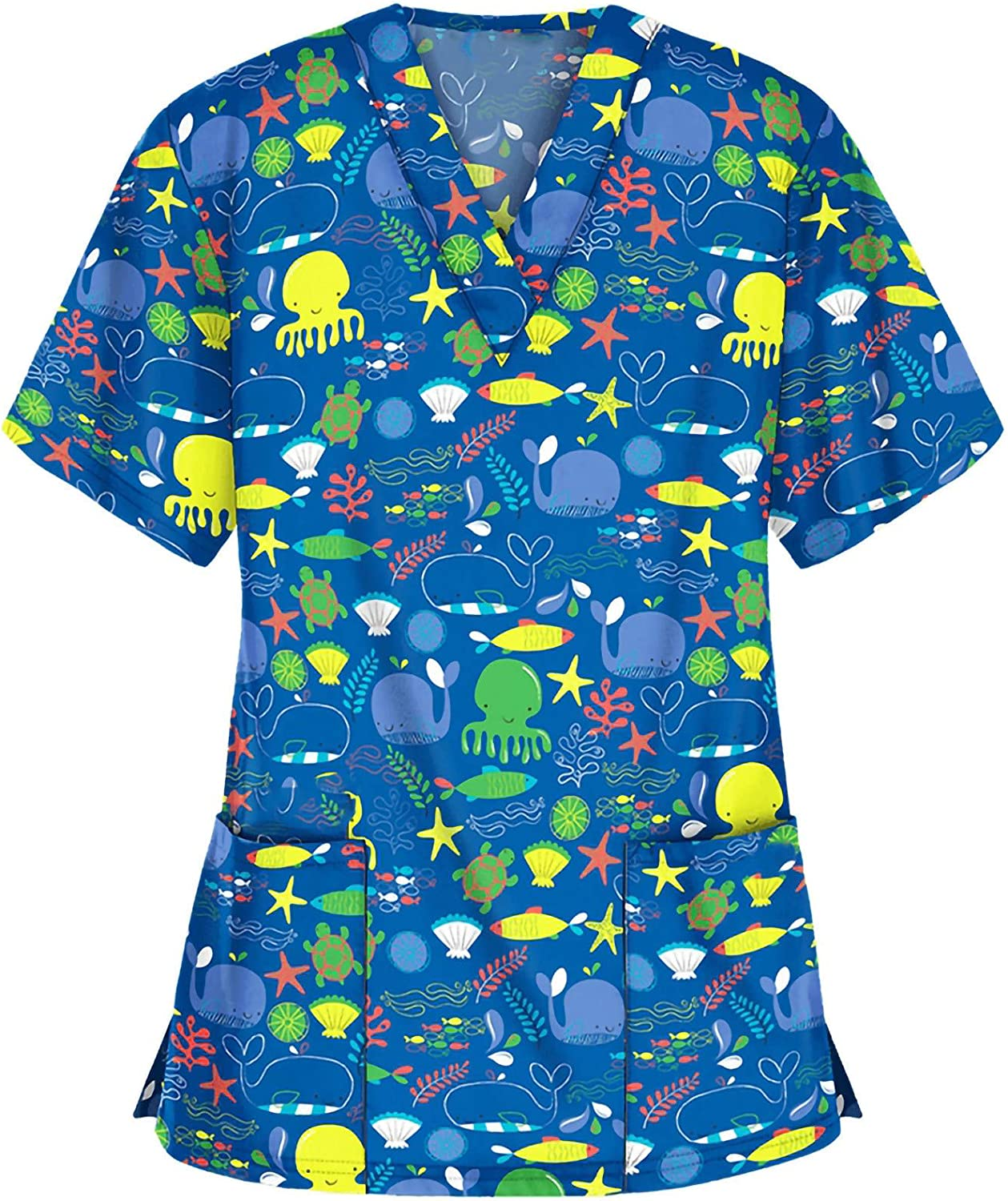 Cartoons Printed Shirts for Women Plus Size, Womens Oversized Tops and Blouses with Pockets, Woman V Neck Tees Uniform