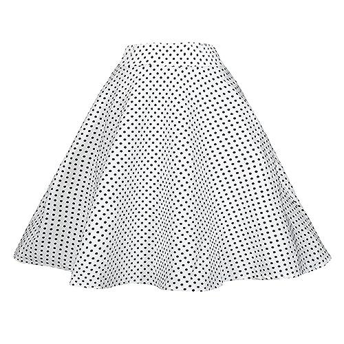 3fe6ae061858 TENCON Women Vintage Skirt Smock Waist Rockabilly Swing Casual Party Skirts