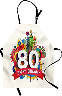 Ambesonne 80th Birthday Apron, Happy Birthday Ribbon with Geometrical Castle Boat and Shapes Image Print, Unisex Kitchen Bib with Adjustable Neck for Cooking Gardening, Adult Size, Ivory Beige