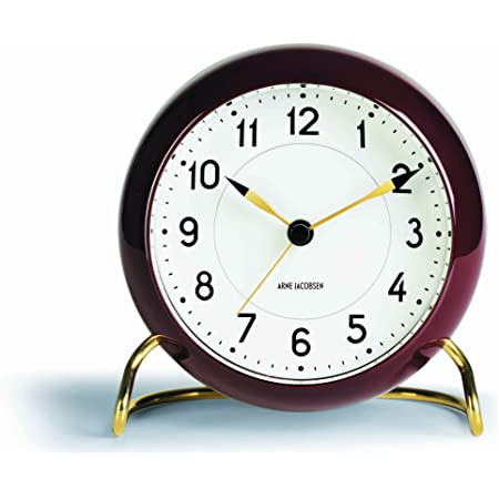 Arne Jacobsen Station Table Clock Burgundy 43676