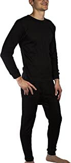 JOTW Men's Thermal Underwear Set Warm & Comfy Top and Bottom - Black or White, Small to 2XL