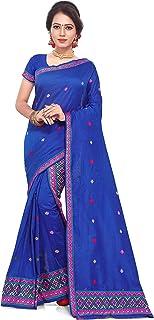 S Kiran's Women's Plain Weave Cotton Mekhela Chador (ADDn5Rblue_Blue)