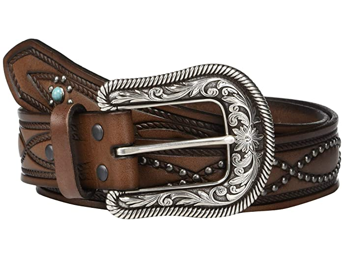 Ariat Figure 8 Nailheads w/ Turquoise Stones Belt (Brown) Women