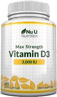 Vitamina D3 3000 UI | 365 Cápsulas Blandas (Suministro Para Todo el Año) | Suplemento