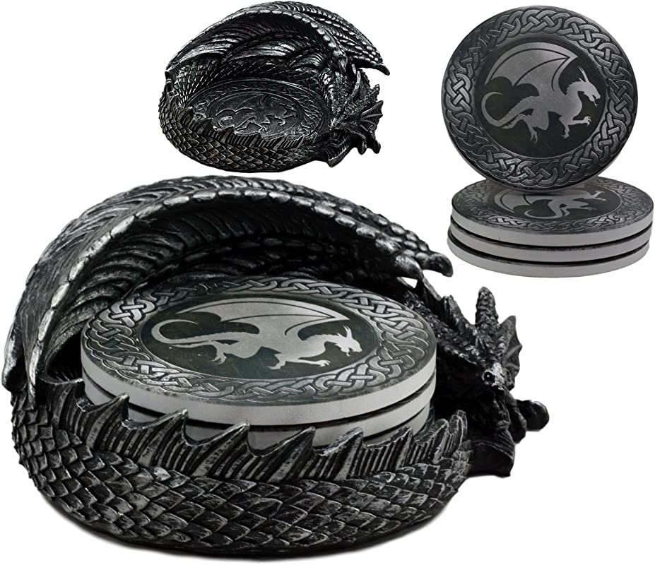 Ebros Hour Of The Dragon Coaster Set 6 5 Long Figurine Holder And Four Round Dragon Silhouette Detailed Coasters
