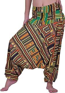 Lofbaz Women's Smocked Waist Floral Pattern 2 in 1 Patch Harem Pants Jumpsuit