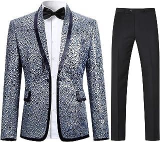 Allthemen Men Scale Prints Notched Lapel Center-Vent One-Button Blazer Suits Jackets & Trousers Golden