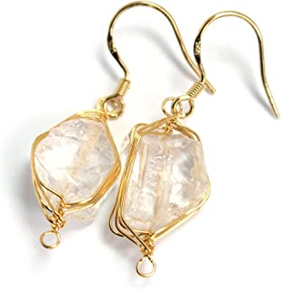 Genuine Natural Gemstone Dangle Drop Earrings with 14K Yellow Gold Plated Wire Wrap and 925 Sterling Silver Hook Jewelry for Women