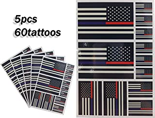 JBCD Thin Blue and red line American Temporary Tattoos 60 Pcs USA Stickers, Waterproof Tattoos Police and Fire Officer Flags Tattoo Patriotic Face Tattoos, Suitable for Event Parties and Decorations