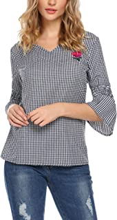 Women's Elegant V Neck Embroidery Floral 3/4 Bell Sleeve Plaid Blouse Top
