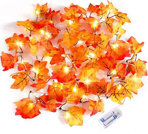 Severino Thanksgiving Decorations Lighted Fall Garland,Thankgiving Decor Waterproof Maple Leaf String Lights - 2 X 20...