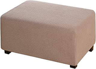 Ottoman Slipcover Stretch Rectangle Storage Stool Ottoman Cover for Living Room 1 Piece Form Fit Storage Ottoman Protect C...