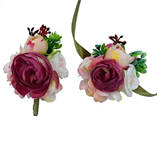 Sangria Red Boutonniere and Corsage Set for Wedding, Prom, Homecoming, Graduation, Birthday - Trending Corsage and Boutonn...