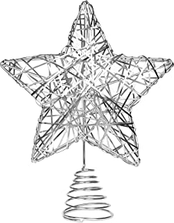BIRDROCK HOME Decorative Star Christmas Tree Topper - Silver Stainless-Steel - Heavy and Durable - Metal Spiral - Treetop Christmas Decoration - Hallow Middle