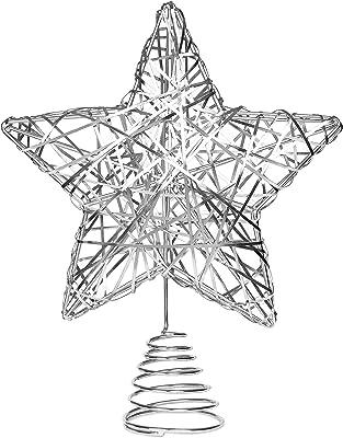 Amazon Com Kurt Adler 9 Inch Capiz Star Tree Topper With 10 Clear