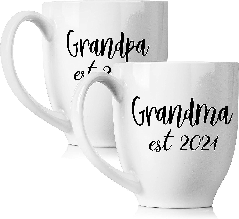 New Grandparents Pregnancy Announcement Coffee Superlatite Arlington Mall Mug Set - 15oz Un